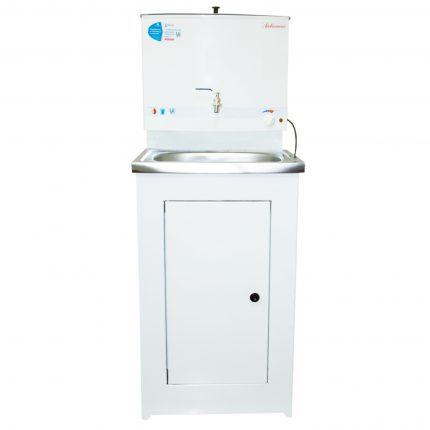 Washbasin with heated water for a summer residence
