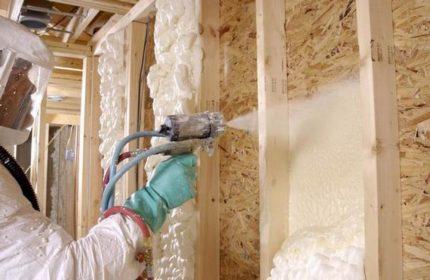The process of applying polyurethane foam