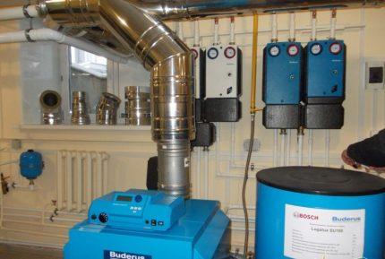 Equipment in the boiler room