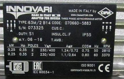 Nameplate of an induction motor