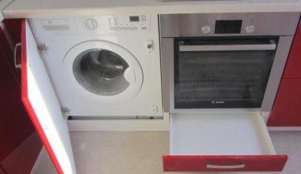 Built-in washing machine in the kitchen