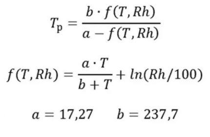 Formula for dew point