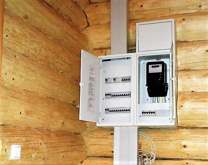 Installation of an electrical panel in a wooden house