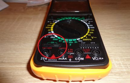 Special connectors on the multimeter