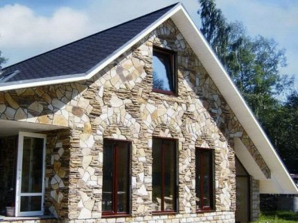 Facing the house with natural stone