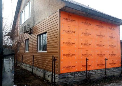 Exterior cladding with Penoplex tiles