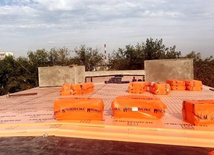 Penopleks Roof for thermal insulation of flat structures