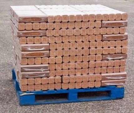 Pallet of fuel briquettes