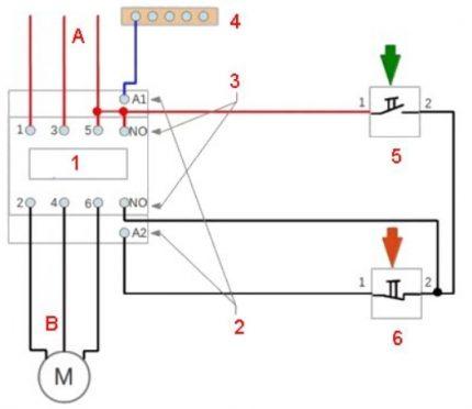 Elektromagnētiskā startera elektroinstalācijas shēma