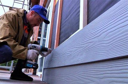 Fiber cement panels on the facade