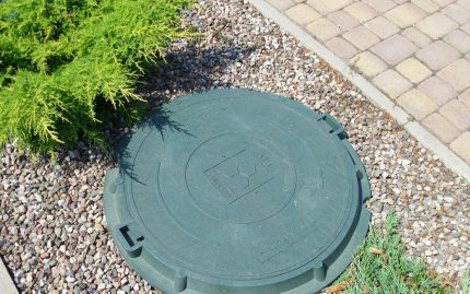 Rubber hatch on the lawn