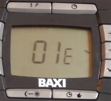 Code d'erreur Baxi 01E