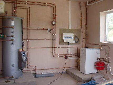 Membrane tank in the boiler room