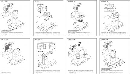 Examples of hood installation schemes