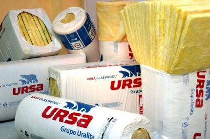 Glass wool Ursa in plates and rolls