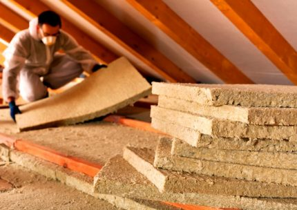 Slabs of mineral wool for attic insulation
