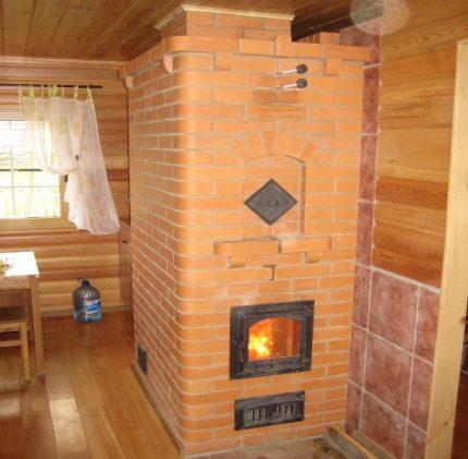 Brick oven in the interior