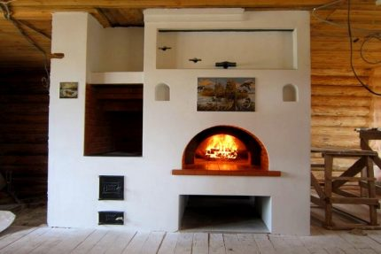 Cubic stove with stove bench