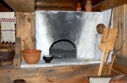 Russian stove in black