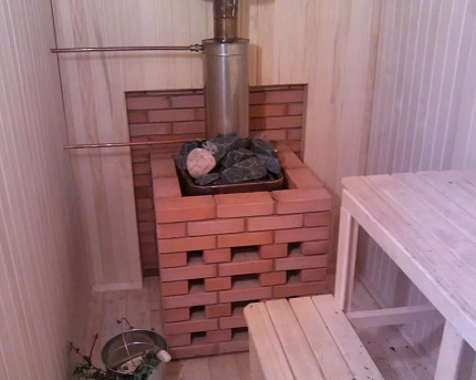 Facing a gas furnace with a brick