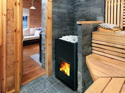 Gas and wood stove in Russian and Finnish bath