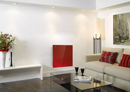 Infrared heating panel on the wall