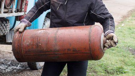 Transport incorrect de la bouteille de gaz