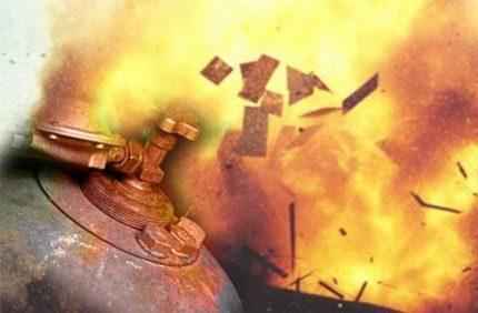 Boule de feu dans l'explosion d'un cylindre