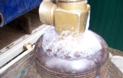 Test de fuite de gaz de savon