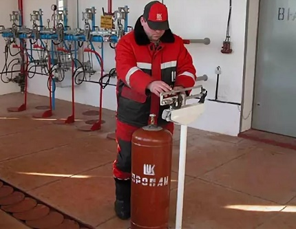 Weighing the gas cylinder after refueling