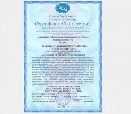 Ventilation certificate
