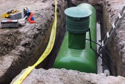 Profondeur du réservoir de gaz pendant l'installation