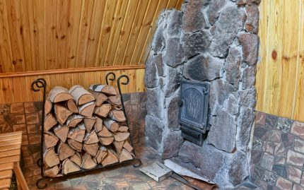 Firewood by the fireplace