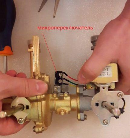 Microrupteur pour la régulation du débit de gaz