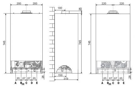 Dimensions d'encombrement pour le montage de la chaudière au mur