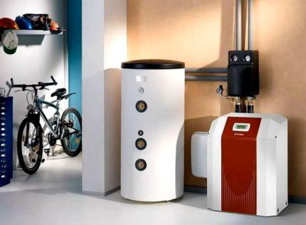 Modern floor gas boiler in the boiler room