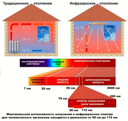 Differences between infrared and light radiation