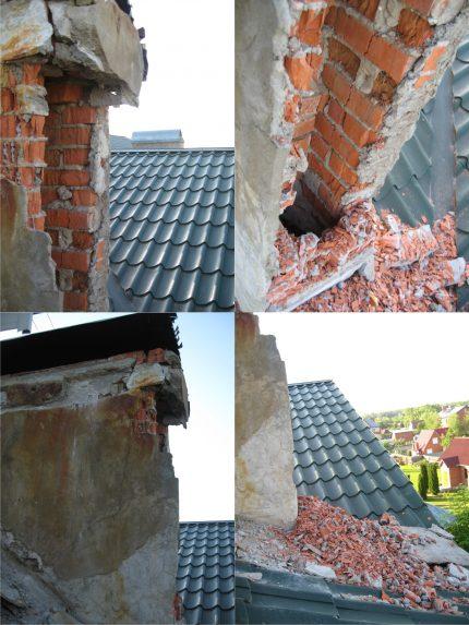 La destruction d'une cheminée en brique