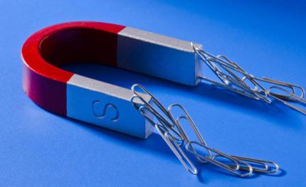 Medžiagai nustatyti galite naudoti magnetą.