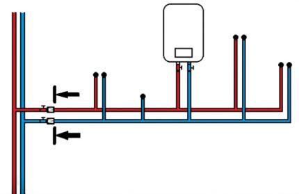 Vandens atbulinio vožtuvo įrengimo schema