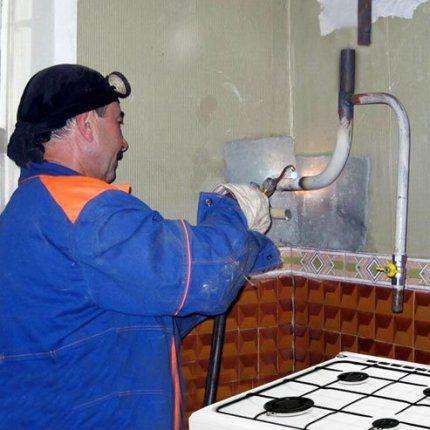 Gas service worker