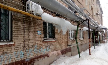 Gas pipes in winter