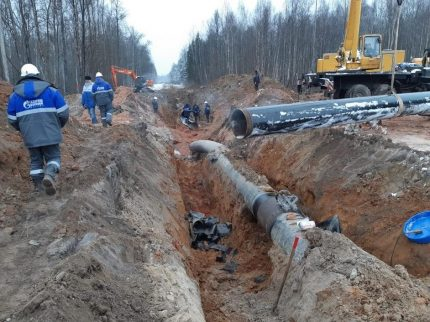 Restoration work on the gas pipeline