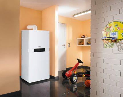 Modern gas boiler in the house