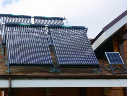 Solar collectors on the roof of a private house