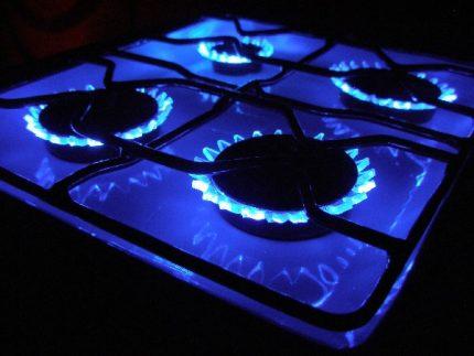 Blue flame in a gas burner