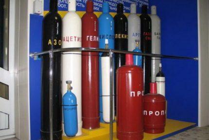 Conteneurs colorés pour le gaz
