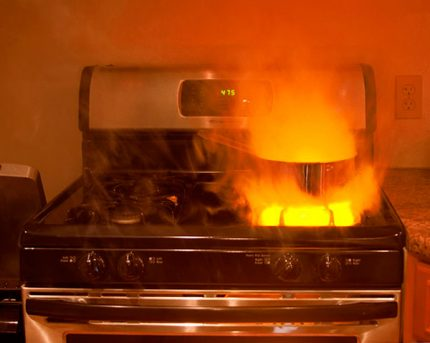 Red flame in a gas burner