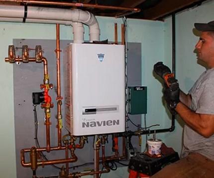 Procédure de connexion de la chaudière à gaz