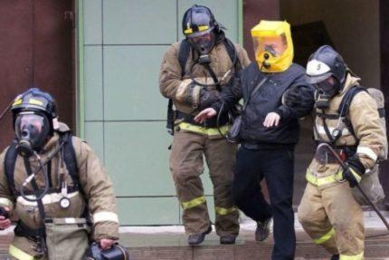 Rescuers work